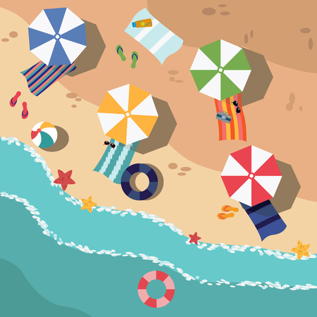 Beach in summer, vacation destination vector illustration Stock fotó - 74731881