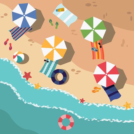Beach in summer, vacation destination vector illustration