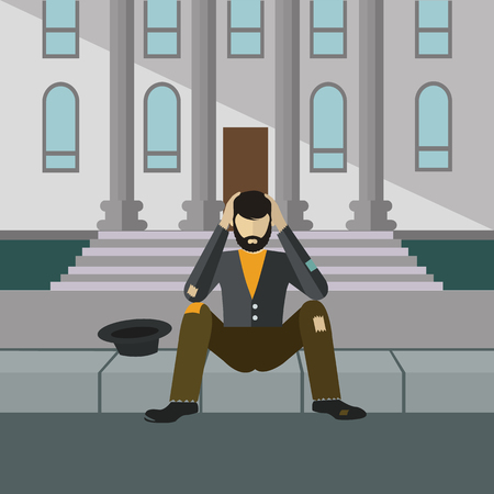 Homeless man begging infront of a building, sitting on the street, vector illustration