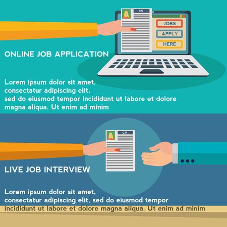 Ressources humaines, demande d'emploi en ligne, concept de vecteur d'entretien d'embauche Vecteurs