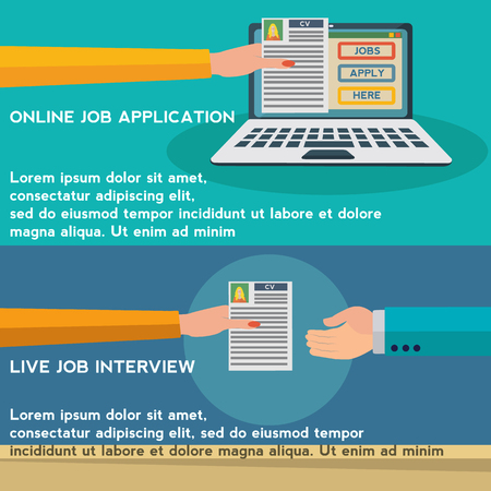 Human resources, online job application, job interview vector concept Illustration