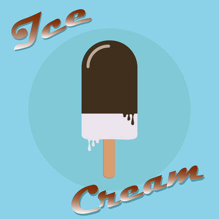 Ice cream on a stick popsicle vector icon Çizim