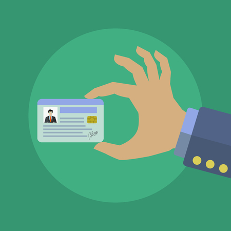Businessman holding his ID card vector concept