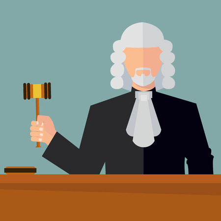 Judge with a hammer vector illustration Çizim