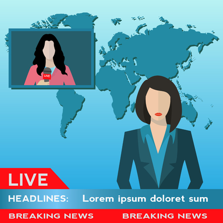 Female new anchor with female journalist live news coverage vector illustration