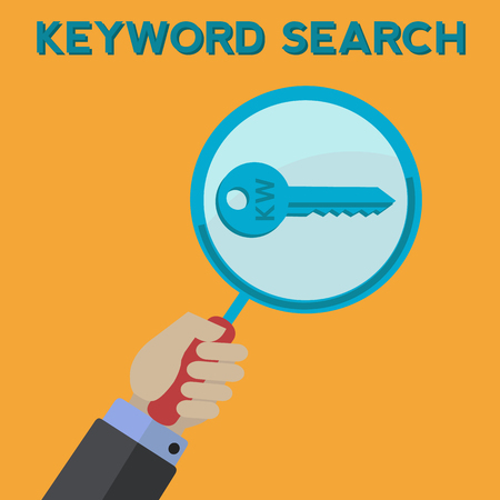 Man keyword searching vector concept Çizim