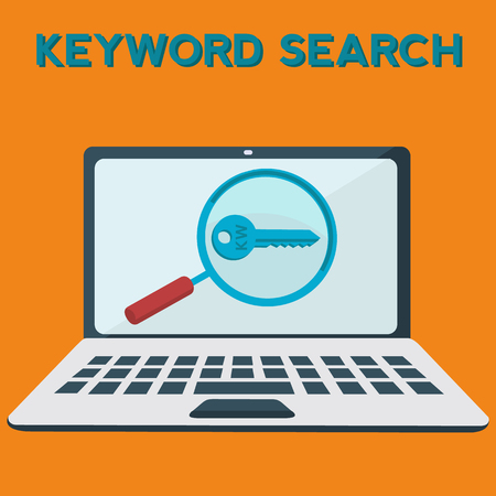 Keyword searching on laptop vector concept Stock fotó - 75253064