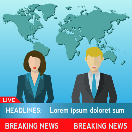 Male and female news co anchors vector illustration