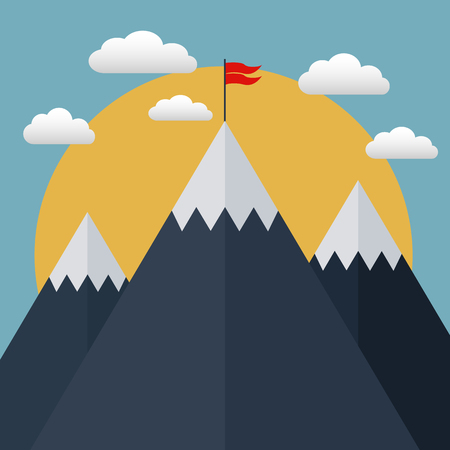Goal achievement, Business concept, Winning of competition or triumph, flag on top of mountain vector concept