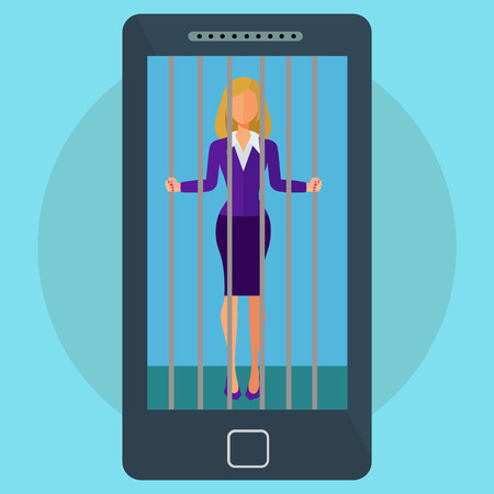 Mobile phone and social media addiction female imprisoned vector concept Çizim