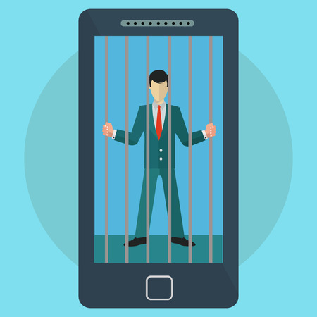Mobile phone and social media addiction man imprisoned vector concept Çizim