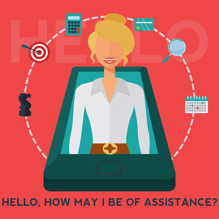 Female mobile phone business assistant vector concept