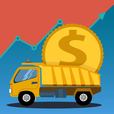 Construction truck carrying a large coin, business investing and profit vector concept