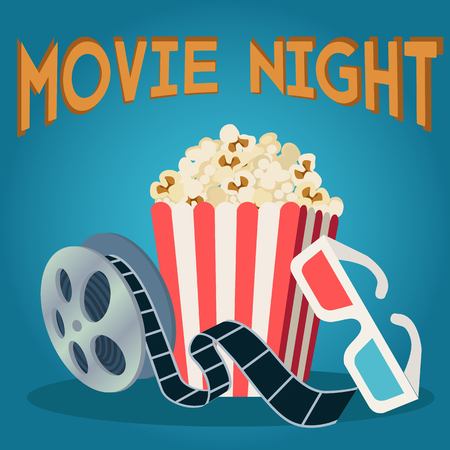 Movie reel popcorn and 3d glasses, movie night vector concept Illustration