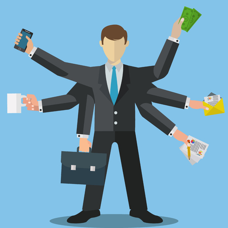 Skillful businessman multitasking vector illustration