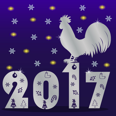 Happy new 2017, year of the rooster vector concept
