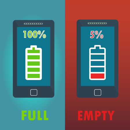 Mobile phones with full and empty battery icons vector concept Çizim