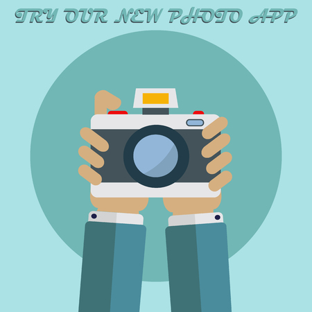 Photo app picture, hands holding photo camera vector concept