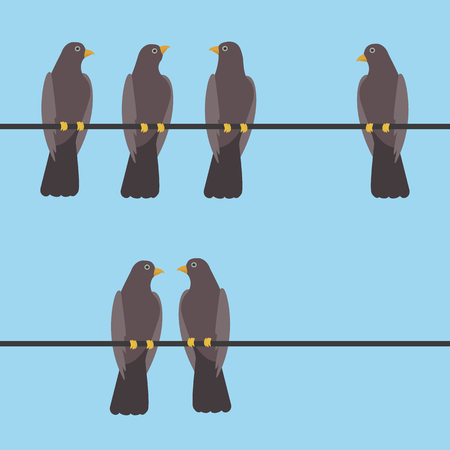 Pigeons sitting on a wire vector illustration