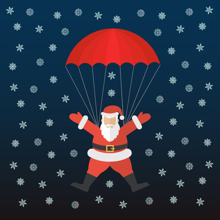 Santa coming down with parachute on a snowy night vector concept Çizim