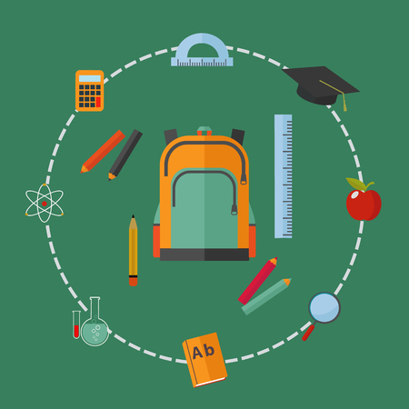 Back to school background with school supplies set, vector illustration Çizim