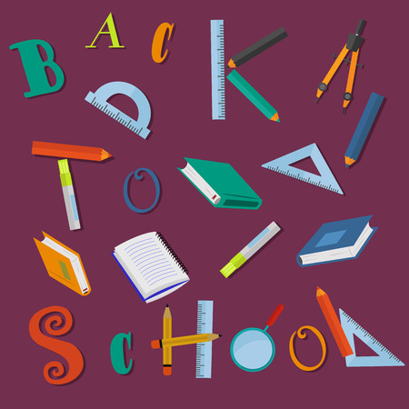 Back to school letters and school supplies on purple background vector concept