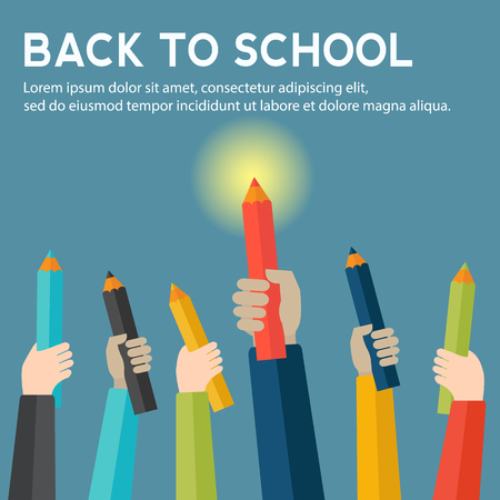 Back to school with hands holding color pencils vector concept Çizim