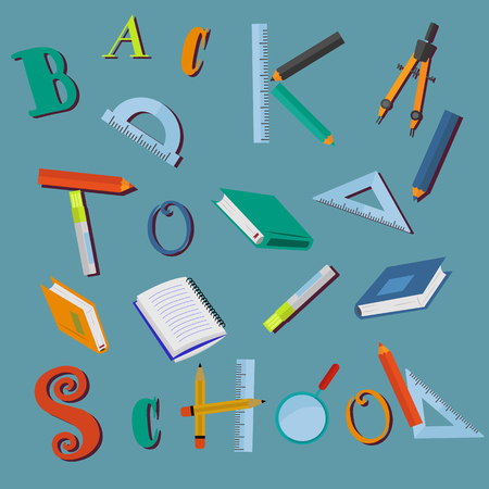 Back to school letters and school supplies on blue background vector concept