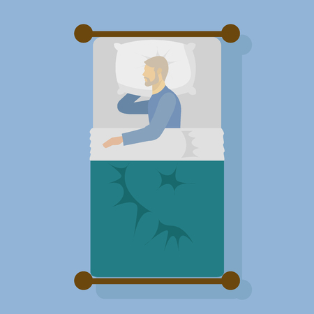 Man sleeping in bed vector illustration