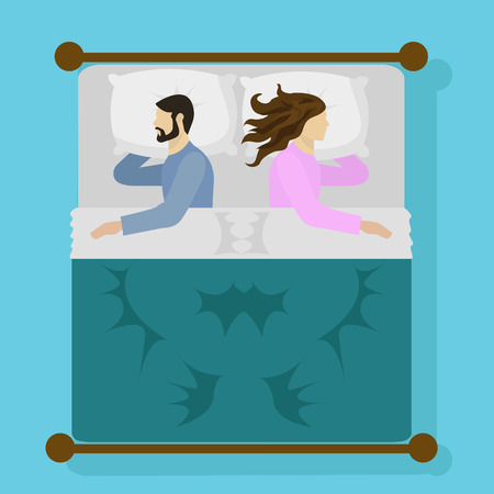 Man and woman sleeping in bed vector illustration Illustration