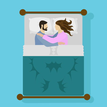 sleepy woman: Couple sleeping in bed and hugging vector illustration Illustration