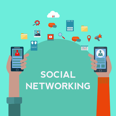 Social networking on mobile phones vector concept