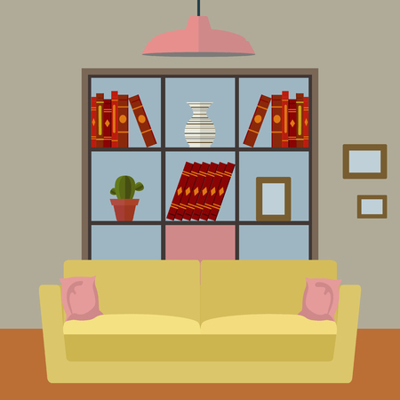 Living room interior with sofa and bookshelf vector design