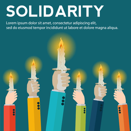 Hands raised holding candles in solidarity vector concept