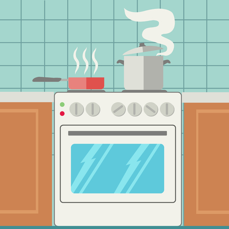 Pans on stove in kitchen, cooking vector illustration