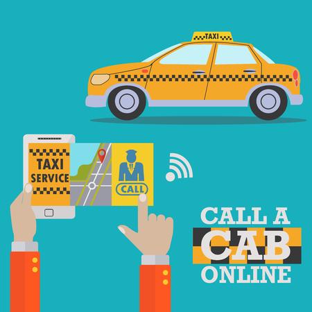 Online taxi order service, call a cab on mobile app vector concept Illusztráció