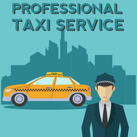 Professional taxi service yellow cab and driver with city vector concept Çizim