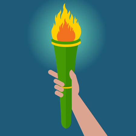Torch in hand held high vector illustration