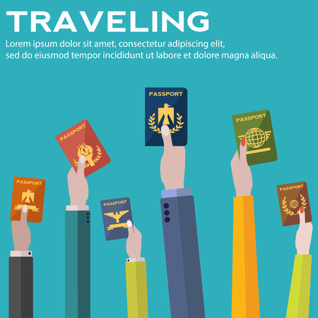 Traveling, business trip, hand holding passports vector concept Stock fotó - 77029811