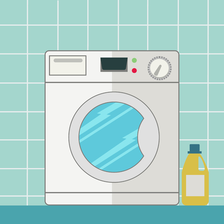 Washing machine in bathroom vector illustration Çizim