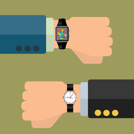 Smart watch and analog watch on businessman hand, technology advancment vector concept Stock fotó - 77029687