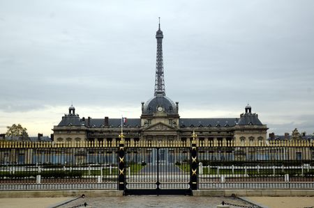 The Royal Military Academy. Eiffel tower at background. Paris. photo