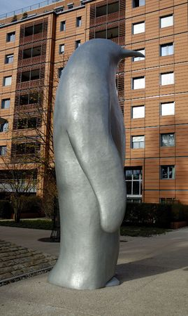 cite: The statue of dolphin in Cite Internationale. Lyon, France.