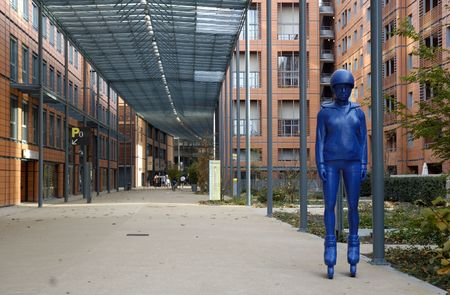 The statue of young skater in Cite Internationale. Lyon, France.