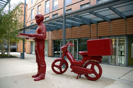 The statue of pizzaman in Cite Internationale. Lyon, France.