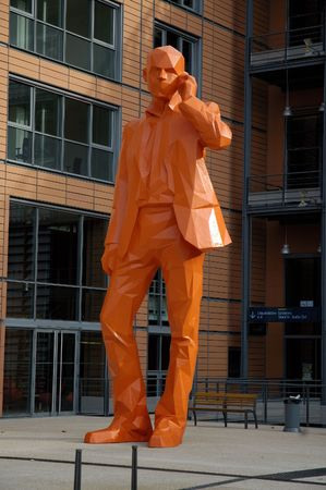 cite: The statue of businessman in Cite Internationale. Lyon, France.