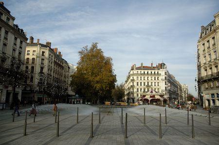Fountain on square (place) de la Republique. Lyon, France.