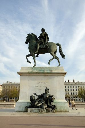 The statue of King Louis at Bellecour square. Lyon, France.