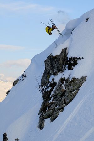 Backcountry freestyle in Krasnaya Polyana. Sochi - capital of Winter Olympic Games 2014. Russia.
