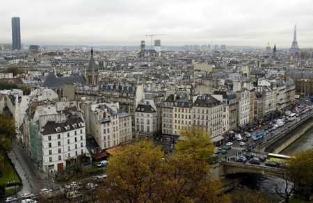 Paris`s view from the top of notre dame de paris. From eiffel to montparnasse tours (towers) photo